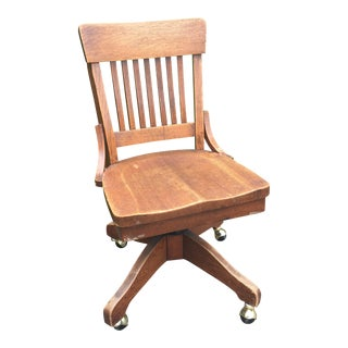 Antique Oak Rolling Desk Chair