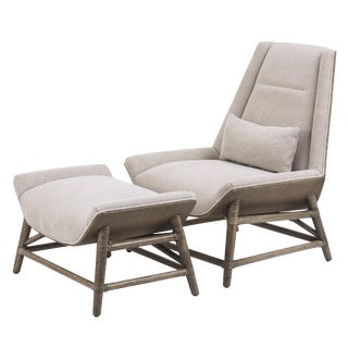 McGuire Tansen Lounge Chair & Ottoman - A Pair