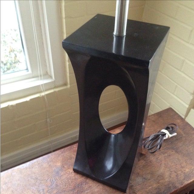 Mid-Century Modern Style Black & Chrome Lamp - Image 5 of 9