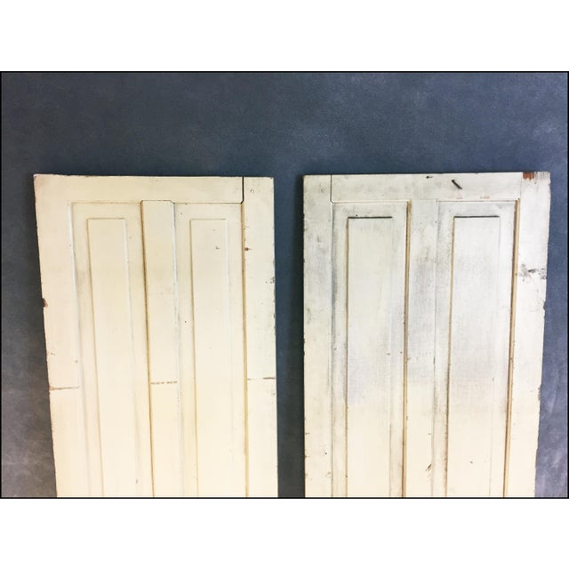 Vintage Rustic Yellow Milk Painted Cabinet Doors - A Pair - Image 4 of 11