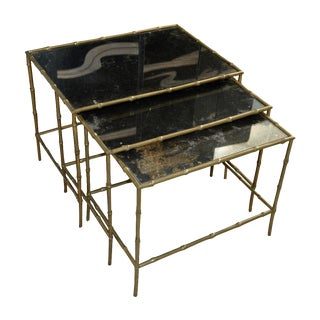 Vintage Brass Bamboo Nesting Tables - Set of 3