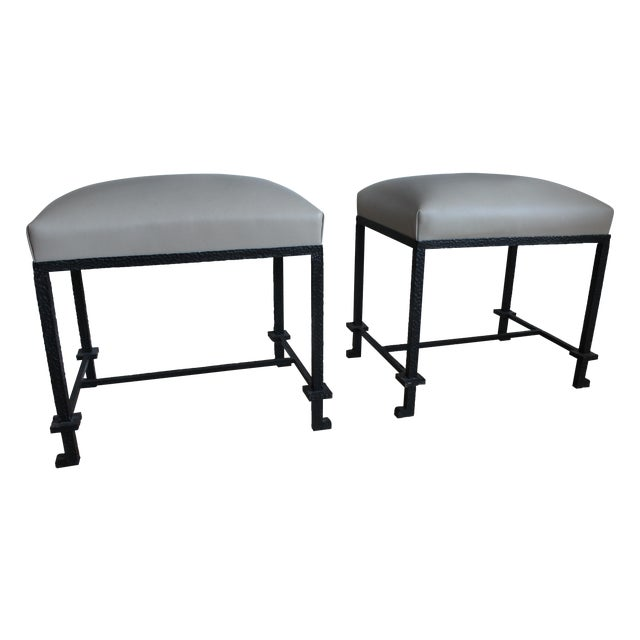Leather & Hammered Steel Benches - A Pair - Image 1 of 5
