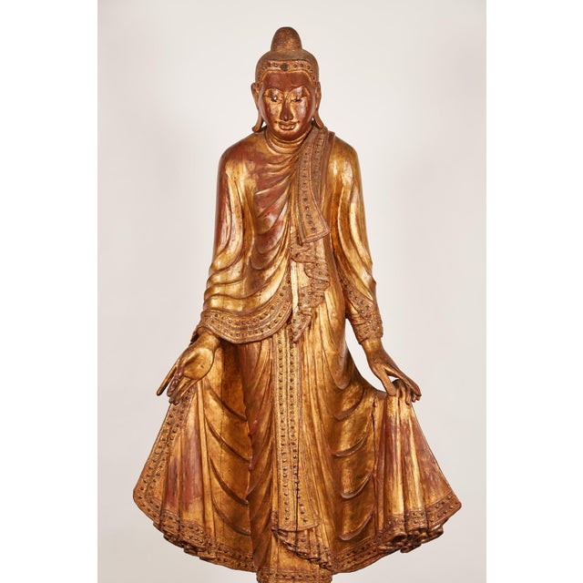 Very Large 19th Century Gold Thai Standing Buddha - Image 3 of 7