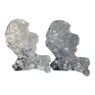 Abstract Sculptural Crystal Bookends - A Pair