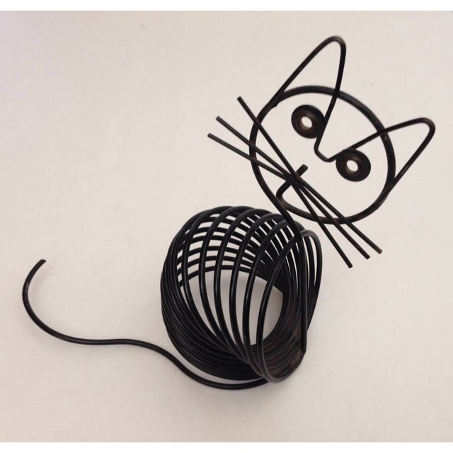 Vintage Mid-Century Black Wire Cat - Image 2 of 6
