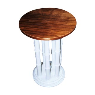 White Faux Bamboo Pedestal Side Table