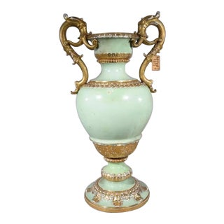 Antique 1860s Meissen Jade Green Urn