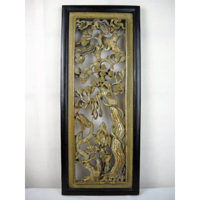 Asian Carved Wood Panels - A Pair - Image 6 of 8