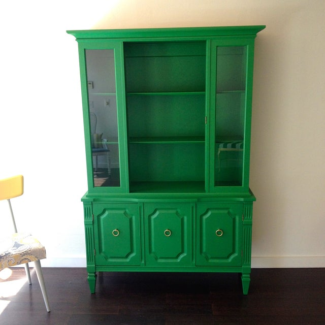 Painted Kelly Green China Hutch - Image 2 of 5