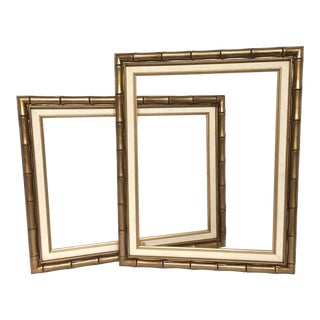 Vintage Gold Bamboo Picture Frames - A Pair