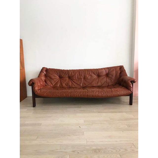1960s Jean Gillon Brazilian Rosewood Leather Sling Sofa by Italma - Image 4 of 9