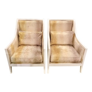 Currey & Co. White Carved Wood and Taupe Velvet Kelmarsh Chairs - a Pair