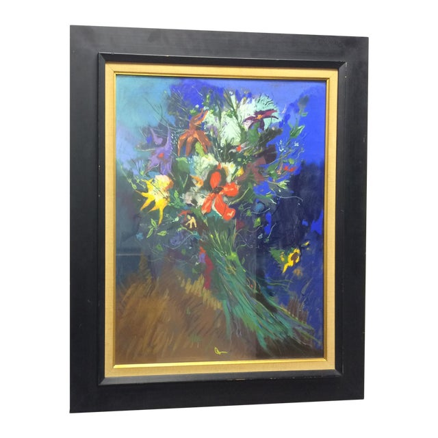 Bouquet Framed Pastel Painting by Leon Kelly - Image 1 of 8