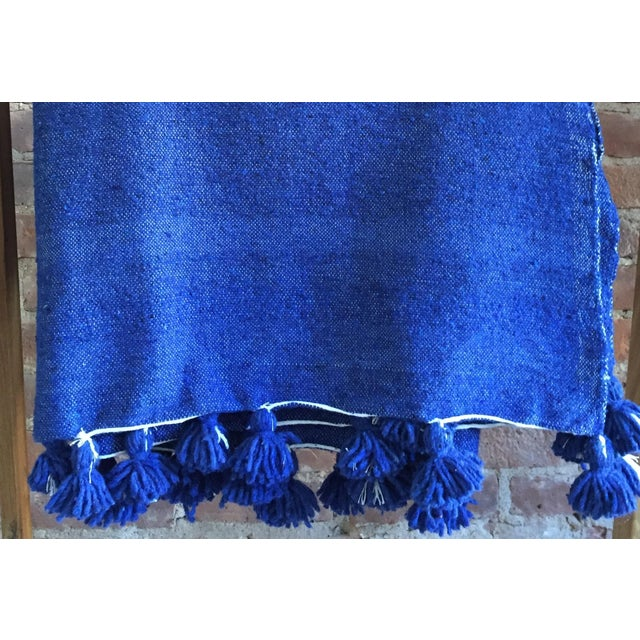 Moroccan Berber Throw Blanket with Pom Poms - Image 3 of 4