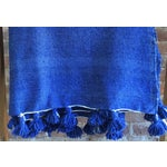 Image of Moroccan Berber Throw Blanket with Pom Poms