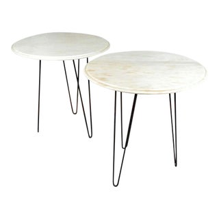 Pair of Vintage Mid Century Marble End Tables / Night Stands