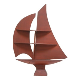 Folk Art Sail Boat Tabletop Display Shelf