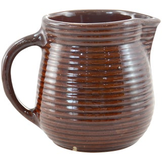 Rustic Farmhouse Ribbed Stoneware Jug
