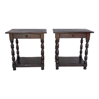 Pair of Custom Walnut Side Tables/Nightstands with Turned Legs, Drawer and Shelf