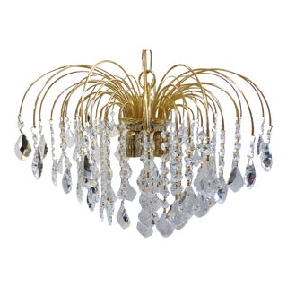 1980's Restored Brass & Swarovski Crystal Chandelier