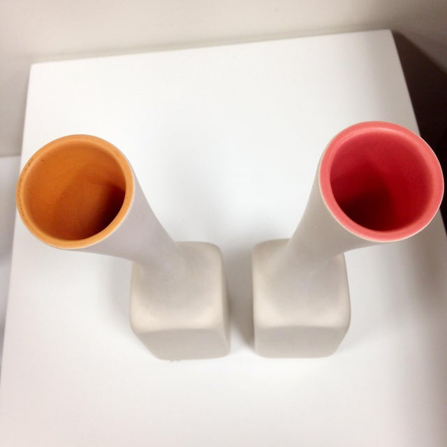 Image of White Cor Unum Vases - A Pair