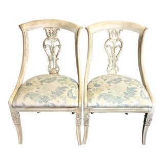 Empire Chairs With Watercolor Seats - A Pair