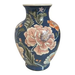 Pink Peony Motif & Blue Vase