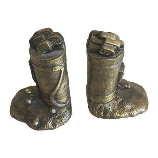Bronze Golf Club Bag Bookends - A Pair