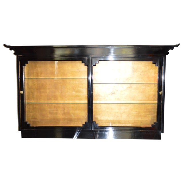 Custom made asian inspired wall mounted cabinet chairish for Asian inspired kitchen cabinets