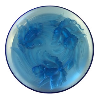 Art Nouveau Style Verlys Blue French Glass Charger