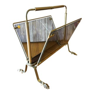 1940's French Victorian Style Brass Magazine Rack