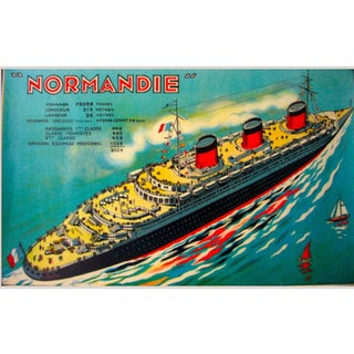 1935 Art Deco Game Sheet Normandie Boat