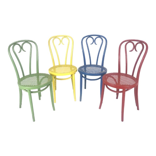 Vintage Wood Candy Cane Radomsko Cafe Chairs - Set of 4 - Image 1 of 6