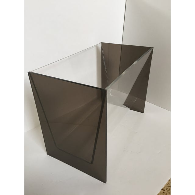 Clear & Smoky Grey Lucite Magazine Holder - Image 4 of 8