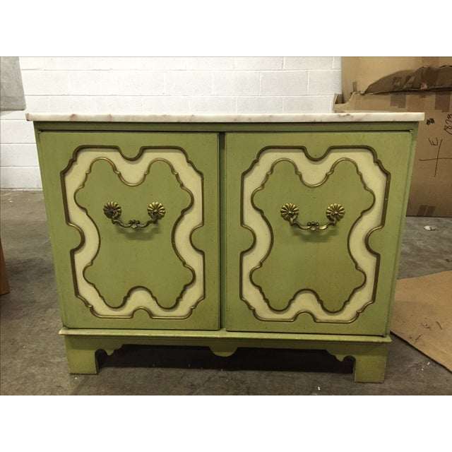 Vintage Green & White Cabinet - Image 2 of 9