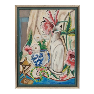 Chinoiserie Original Oil on Canvas of Siamese Cat by E. Goetz