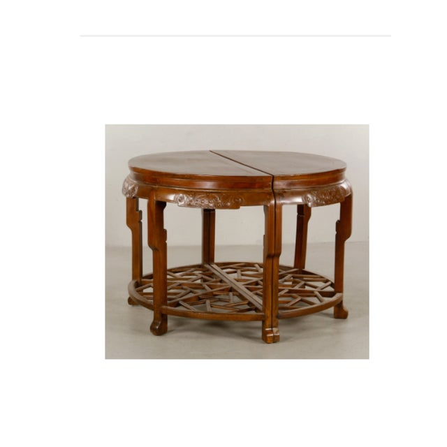 Pair 19th Century Chinese Carved Demilune Tables - Image 2 of 6