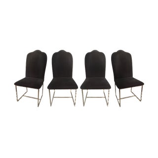 Vintage Velvet & Brass Chairs - Set of 4