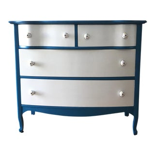 Refurbished Blue & White Serpentine Dresser
