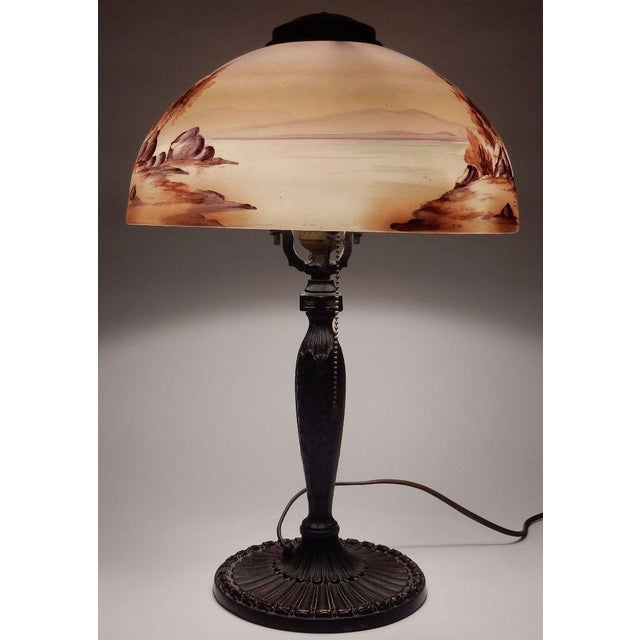 Antique Signed Pittsburgh Electric Reverse Painted Table Lamp - Image 5 of 11