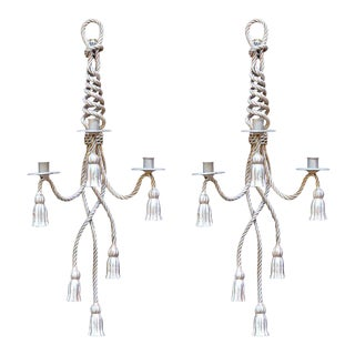 Silver Leaf Rope & Tassel Sconces - A Pair