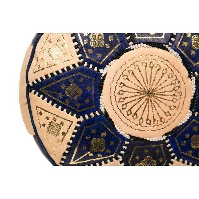 Moroccan Blue Pouf Ottoman - Image 3 of 3