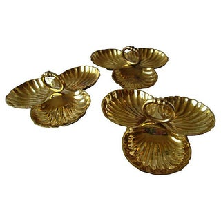 Brass Clam Shell Serving Dishes - Set of 3