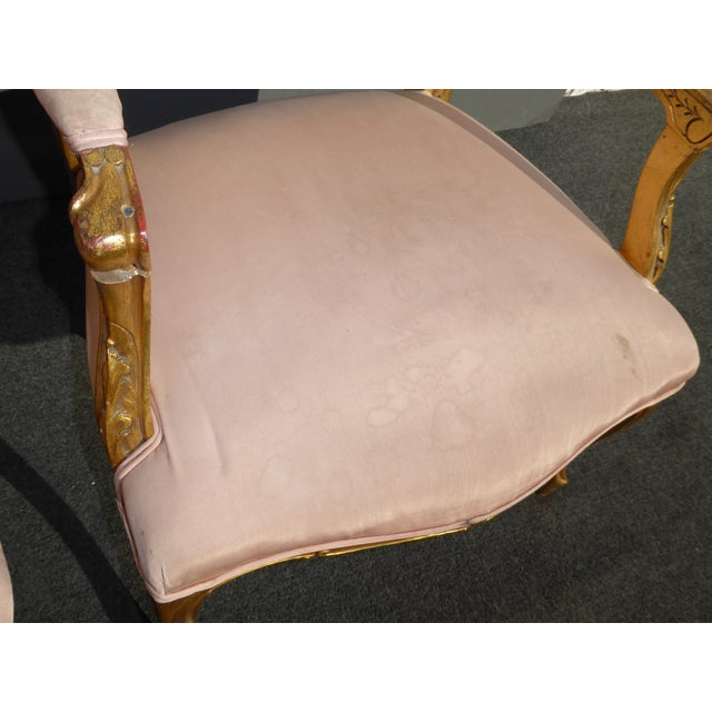 Vintage French Rococo/Louis XV Style Giltwood Accent Chairs- A Pair - Image 8 of 11