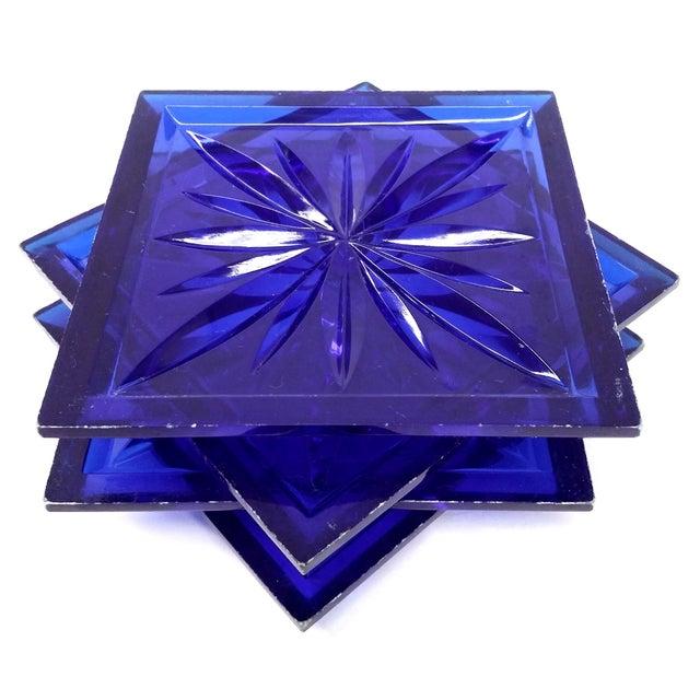 Mid Century Cobalt Blue Cut Lucite Coasters - 4 - Image 5 of 8