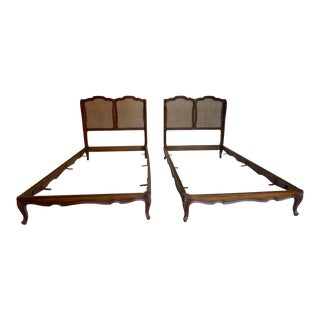 Antique French Country Style Caned Twin Beds - A Pair