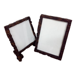 Hand Carved Wood Frames - A Pair