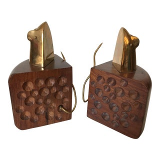 Wood Swiss Cheese & Brass Mouse Bookends - A Pair