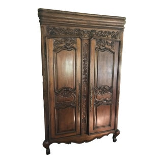 French Provincial Carved Wood Armoire