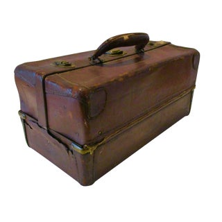 Antique Leather Fishing Tackle Box